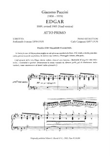 Edgar: Act I, piano-vocal score by Giacomo Puccini