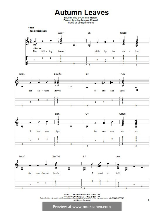 Autumn Leaves: For guitar with tab by Joseph Kosma