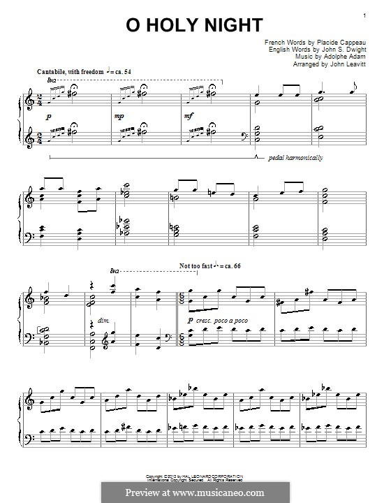 O Holy Night, for Piano: Very easy version by Adolphe Adam