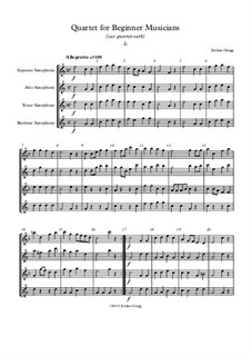 Quartet for Beginner Musicians: For saxophone quartet SATB by Jordan Grigg