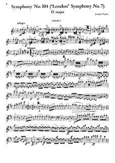 Symphony No.104 in D Major 'London', Hob.I/104: Violin I part by Joseph Haydn