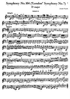 Symphony No.104 in D Major 'London', Hob.I/104: Violin II part by Joseph Haydn