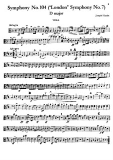 Symphony No.104 in D Major 'London', Hob.I/104: Viola part by Joseph Haydn