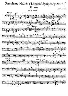 Symphony No.104 in D Major 'London', Hob.I/104: Cello and double bass part by Joseph Haydn