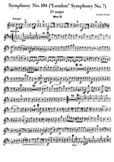 Symphony No.104 in D Major 'London', Hob.I/104: Oboe II part by Joseph Haydn