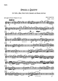 Sonata a Quattro, K.347: For oboe, bassoon, french horn, violin and double bass – violin part by Johann Fux