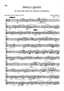 Sonata a Quattro, K.347: For oboe, bassoon, french horn, violin and double bass – oboe part by Johann Fux