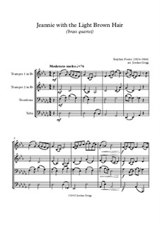 Jeanie with the Light Brown Hair: For brass quartet by Stephen Collins Foster