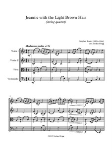 Jeanie with the Light Brown Hair: For string quartet by Stephen Collins Foster