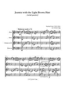 Jeanie with the Light Brown Hair: For wind quartet by Stephen Collins Foster