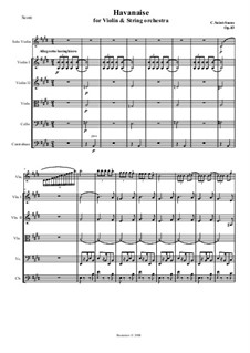 Havanaise, Op.83: Score for violin and string orchestra by Camille Saint-Saëns