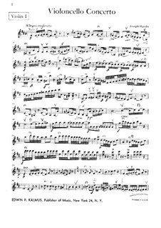Concerto for Cello and Orchestra No.2 in D Major, Hob.VIIb/2: Violin I part by Joseph Haydn