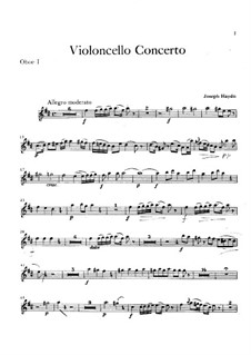 Concerto for Cello and Orchestra No.2 in D Major, Hob.VIIb/2: Oboe I part by Joseph Haydn