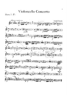 Concerto for Cello and Orchestra No.2 in D Major, Hob.VIIb/2: French horn part by Joseph Haydn