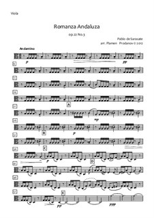 Romanza Andaluza, Op.22: For string orchestra – viola part by Pablo de Sarasate
