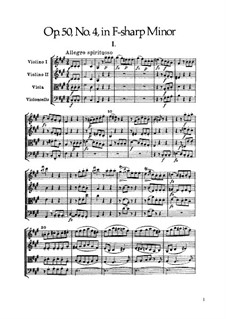 String Quartet No.39 in F Sharp Minor, Hob.III/47 Op.50 No.4: Full score by Joseph Haydn