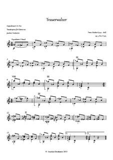 Thirty-Six Original Dances, D.365 Op.9: No.2 Trauerwalzer, for guitar by Franz Schubert