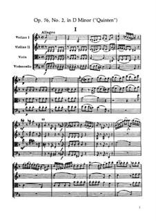 String Quartet No.61 in D Minor 'Quinten', Hob.III/76 Op.76 No.2: Full score by Joseph Haydn