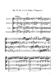 String Quartet No.62 in C Major 'Emperor', Hob.III/77 Op.76 No.3: Full score by Joseph Haydn