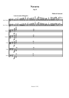 Navarra, Op.33: For two violins and string orchestra by Pablo de Sarasate
