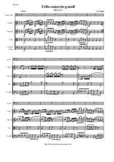 Concerto for Cello and Strings in G Minor, RV 417: Score, parts by Antonio Vivaldi