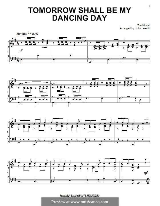 Tomorrow Shall Be My Dancing Day: For piano by folklore