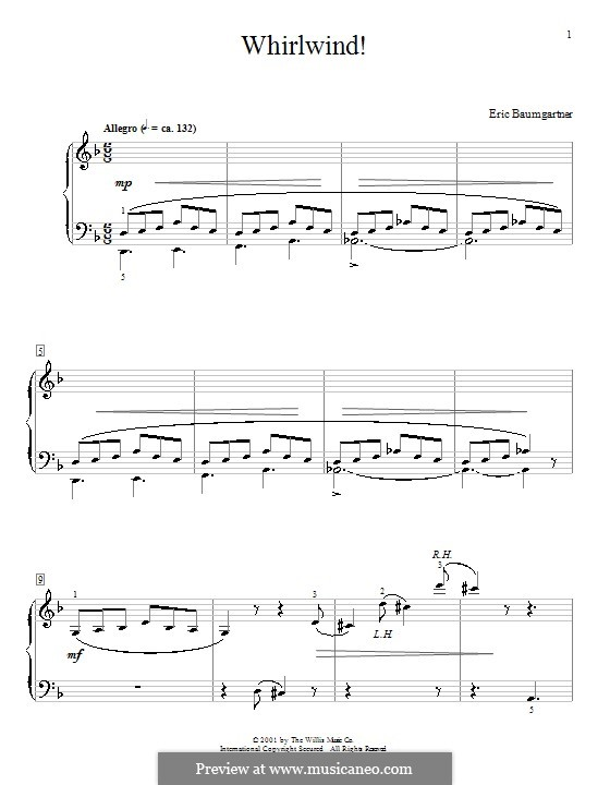 Whirlwind!: For piano by Eric Baumgartner