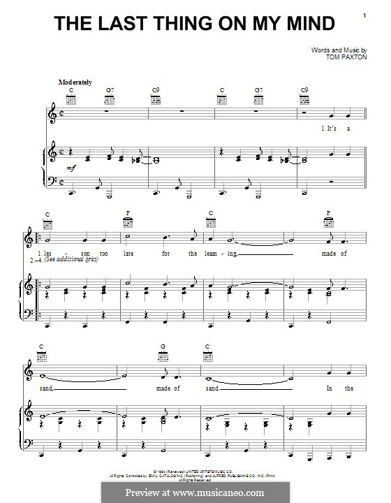 The Last Thing on My Mind: For voice and piano (or guitar) by Tom Paxton