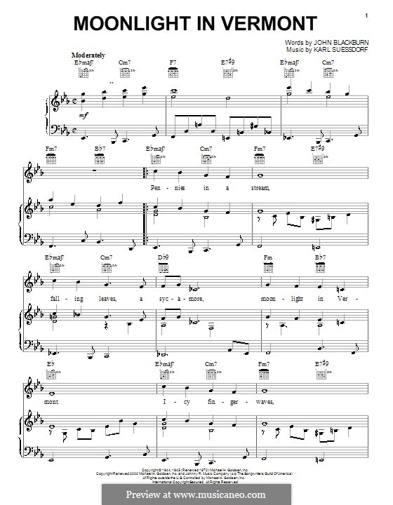 Moonlight in Vermont (Frank Sinatra): For voice and piano (or guitar) by Karl Suessdorf