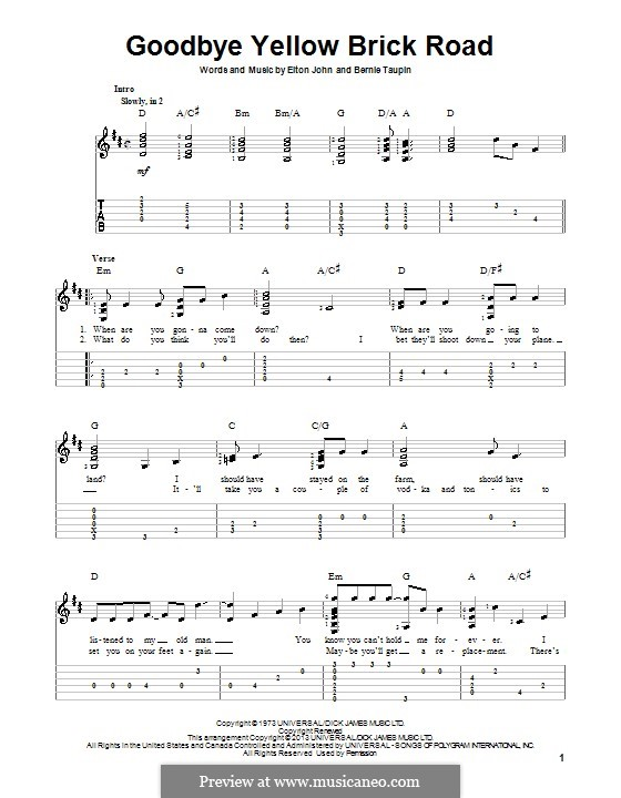Goodbye Yellow Brick Road: For guitar with tab by Elton John