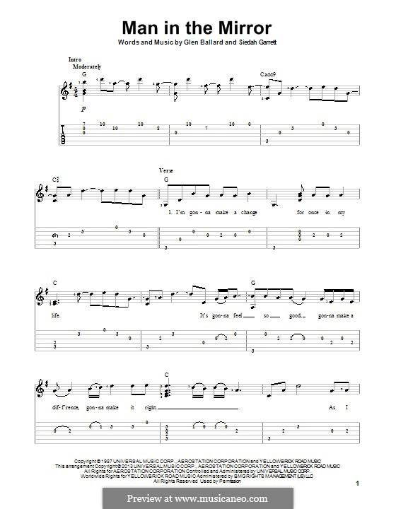 Man in the Mirror: For guitar with tab by Glen Ballard, Siedah Garrett