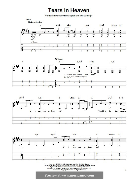 Tears in Heaven: For guitar with tab by Eric Clapton, Will Jennings