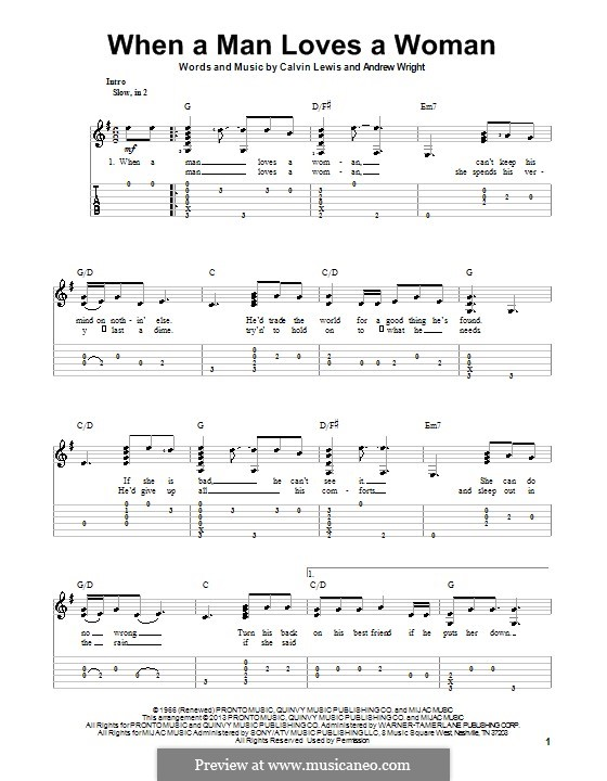 When a Man Loves a Woman (Percy Sledge): For guitar with tab by Andrew Wright, Calvin Lewis