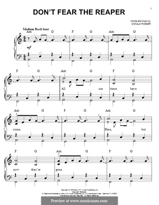 Don't Fear / The Reaper (Blue Oyster Cult): For piano by Donald Roeser