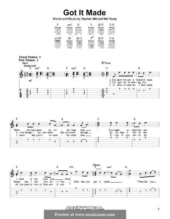 Got It Made (Crosby, Stills & Nash): For guitar with tab by Neil Young, Stephen Stills