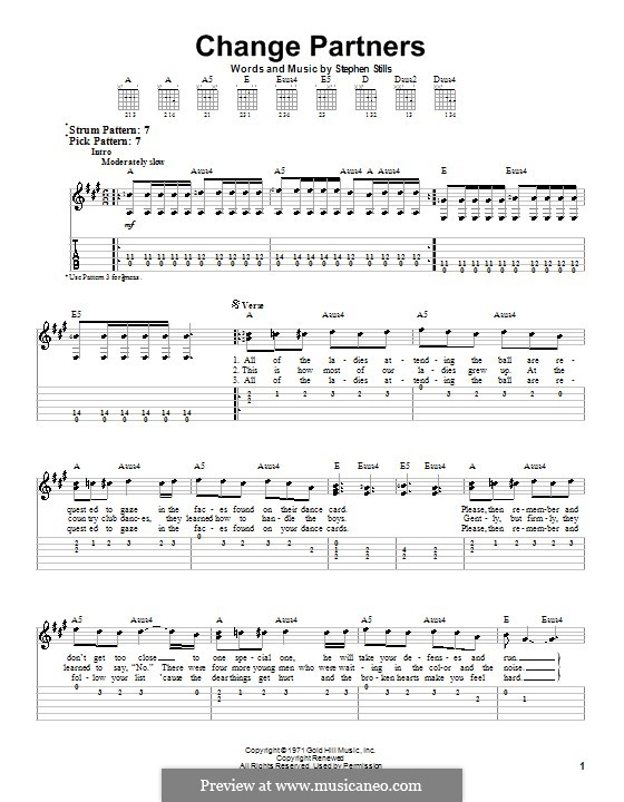 Change Partners (Crosby, Stills & Nash): For guitar with tab by Stephen Stills