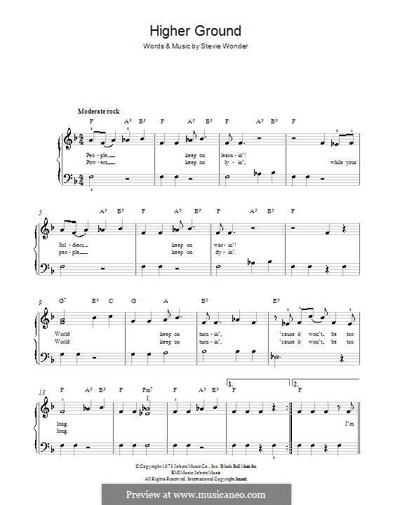Higher Ground: For piano by Stevie Wonder