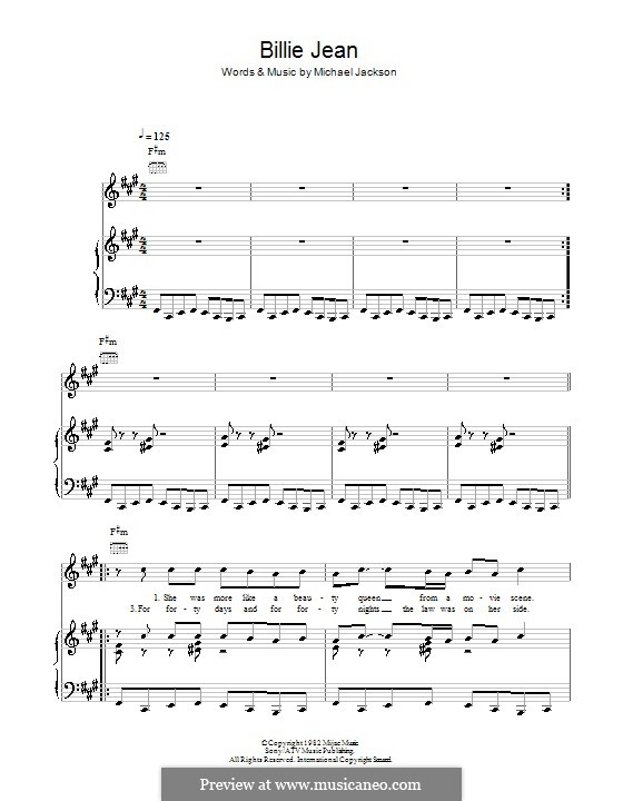 Billie Jean: For voice and piano (or guitar) by Michael Jackson