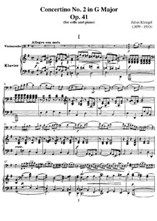 Concertino for Cello and Piano No.2, Op.41: Score by Julius Klengel