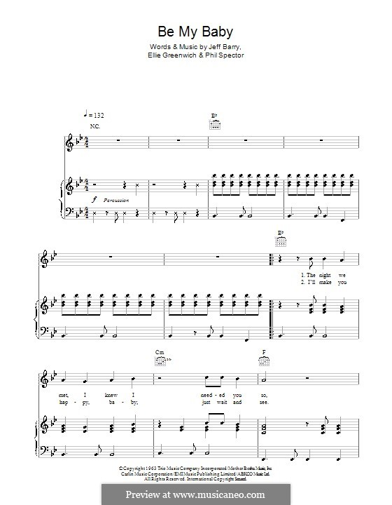 Be My Baby: For voice and piano or guitar (Michael Buble) by Ellie Greenwich, Jeff Barry, Phil Spector