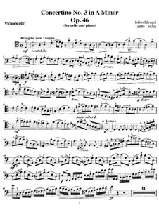 Concertino for Cello and Piano No.3, Op.46: Solo part by Julius Klengel