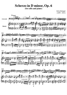 Scherzo for Cello and Piano, Op.6: Score by Julius Klengel
