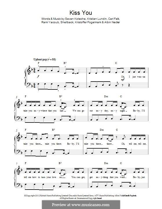 Kiss You (One Direction): For piano by Shellback, Carl Falk, Kristian Lundin, Rami Yacoub, Savan Kotecha