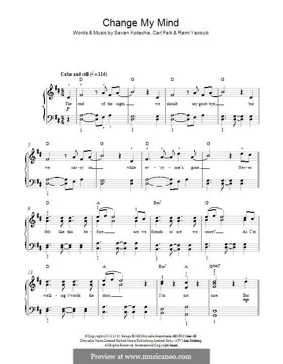 Change My Mind (One Direction): For piano by Carl Falk, Rami Yacoub, Savan Kotecha