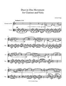 Duet in One Movement for Clarinet and Viola: Duet in One Movement for Clarinet and Viola by Jordan Grigg