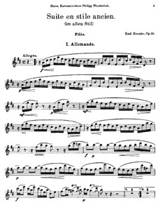 Suite in Old Style for Flute and Piano, Op.81: Solo part by Emil Kronke
