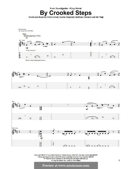 By Crooked Steps (Soundgarden): For guitar with tab by Hunter Benedict Shepherd, Chris Cornell, Kim Thayil, Matt Cameron