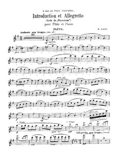 Namouna. Ballet: Introduction and Allegretto, for flute and piano by Édouard Lalo