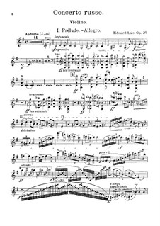 Russian Concert, Op.29: For violin and piano by Édouard Lalo