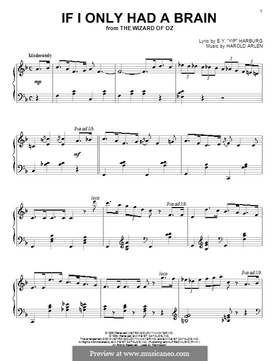If I Only Had a Brain (from The Wizard of Oz): For piano by Harold Arlen